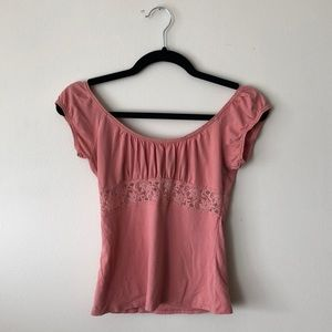 express- s- adorable pink lace inset top